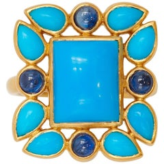 Scrives Turquoises Blue Sapphires 22 Karat Gold Ring