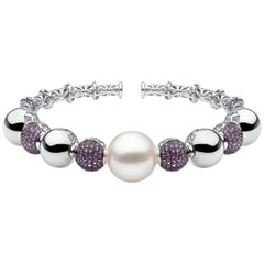Yoko London South Sea Pearl and Purple Sapphire Bangle in 18 Karat White Gold