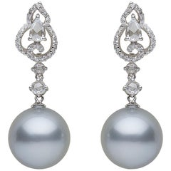 Yoko London Tahitian Pearl and Rose-Cut Diamond Earrings in 18 Karat White Gold