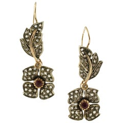Diamonds Rubies Rose Gold and Silver Earrings