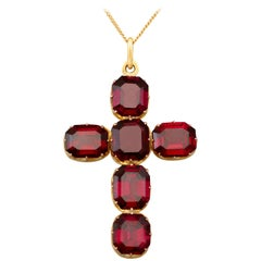 Antique Victorian 16.29 carat Garnet and 15 carat Yellow Gold Cross Pendant