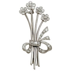Antique 1930s 1.26 carat Diamond and Platinum Spray Brooch