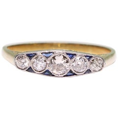Antique Art Deco 18 Karat Gold Diamond and Sapphire Ring