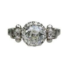 Edwardian Platinum Contemporary Handmade Diamond Engagement Ring