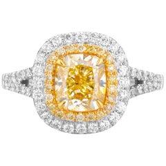 GIA Certified White Gold Cushion Cut Fancy Intense Yellow Diamond Ring - 2.07 ct
