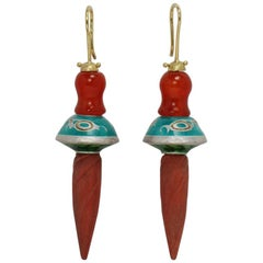 Karl Wunderlich Yellow Gold Silver Carnelian Beads Wood Enamel Earrings