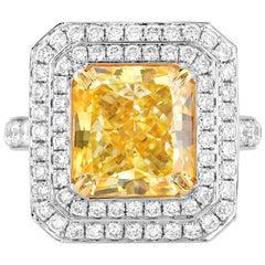 GIA Certified White Gold Radiant Cut Yellow Diamond Ring, 6.01 Carat