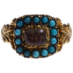 Turquoise Gold Mourning Ring