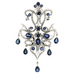 Sapphires Drops 18 Karat White Gold Diamonds Pendant Necklace