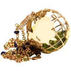 Clarissa Bronfman 14k Gold,Diamond,Peridot,Ruby,Sapphire Globe Shaker Pendant