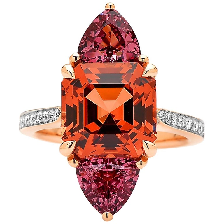 Paolo Costagli 18 Karat Rose Gold Mayla Garnet Ring with Diamonds For Sale