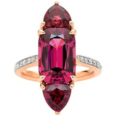 Paolo Costagli 18 Karat Rose Gold Rhodolite Garnet Ring with Diamonds