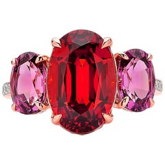 Paolo Costagli 18 Karat Rose Gold Mandarin & Rhodolite Garnet Ring with Diamond
