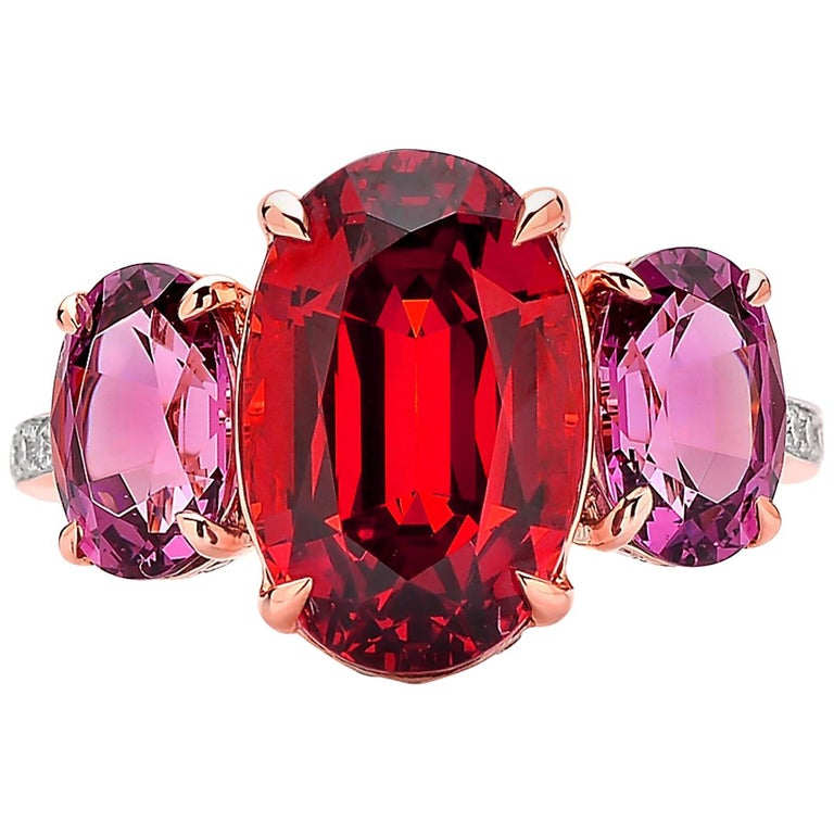 Incredible Paolo Costagli 18 Karat Rose Gold Mandarin Rhodolite Garnet Ring With Diamond Pdpeps Interior Chair Design Pdpepsorg