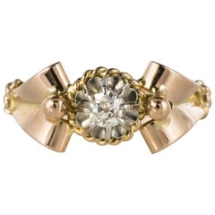 French 1950s Diamond 18 Karat Rose Gold Platinum Retro Ring