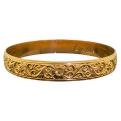 18 Karat Solid Yellow Gold Victorian Style Engraved Heavy Bangle Bracelet