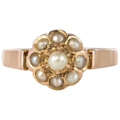 French Napoleon III Natural Pearl 18 Karat Rose Gold Daisy Ring