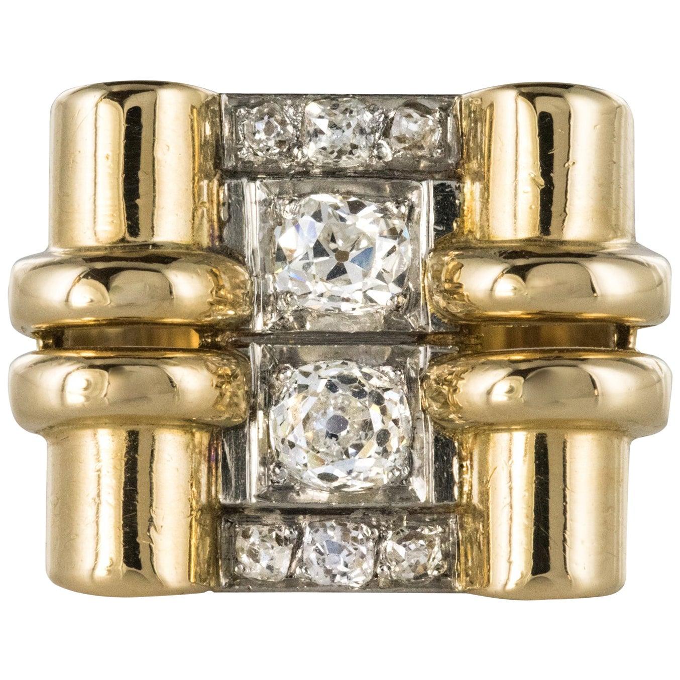 1940s Retro 0.60 Carat Diamond Yellow Gold Windings Tank Ring