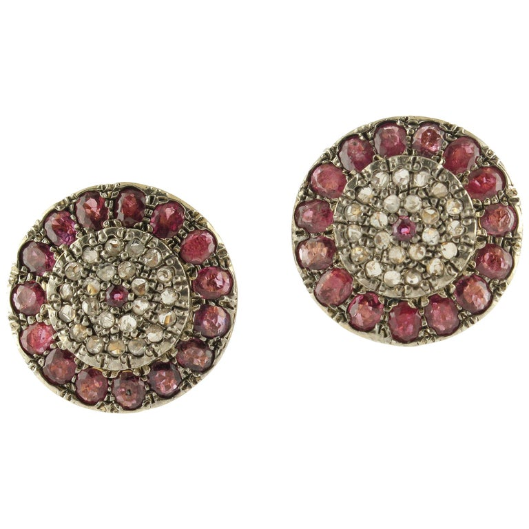 Rubies Diamonds Rose Gold and Silver Clip-On Earrings