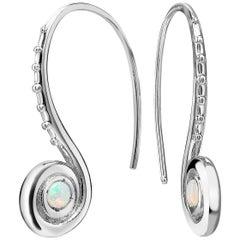 Venyx 18 Karat White Gold Opal Pharaonys Small Loop Drop Earrings