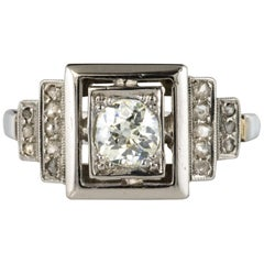 French 1925 Art Deco Platinum 18 Karat White Gold Diamond Ring