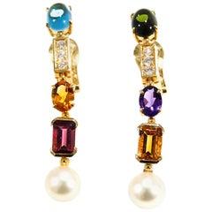 Bvlgari Diamond Earrings Allegra Collection Gemstone 18 Karat