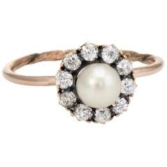 Antique Victorian Diamond Pearl Conversion Ring Halo 10k Gold Fine Jewelry 5.75