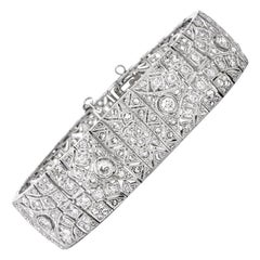 Diamond Filligree Platinum Wide Bracelet