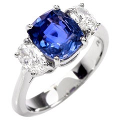 No Heat Blue Ceylon Sapphire Diamond Three-Stone Engagement Ring