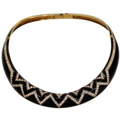 Black Enamel Diamond and Gold Collar