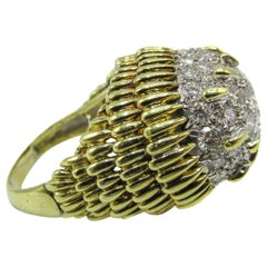 1970s Diamond Gold Bombe Ring
