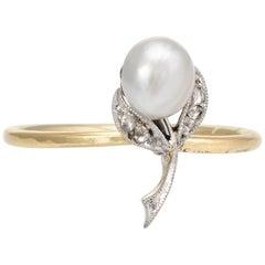 Antique Victorian Flower Conversion Ring Diamond Pearl 10 Karat Gold Jewelry
