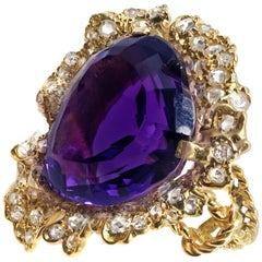 Impressive Heart Shape Amethyst Rose Diamond 18 Karat Yellow Gold Ring