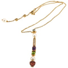 Bvlgari Diamond Necklace Allegra Collection Gemstone 18 Karat