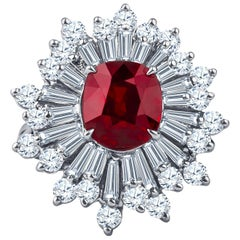 3.97 Carat Ruby Center and Fine Baguette Round Diamonds, GIA Report Included