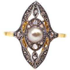 Edwardian Platinum Topped 18 Karat Yellow Gold Pearl Diamond Ring