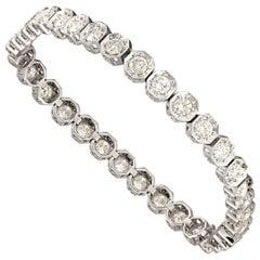 Solid 18 Karat Gold 5.25 Carat Diamond Bracelet Excellent Condition 15.1 Grams