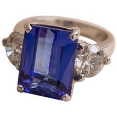 Platinum 7.1 Carat Tanzanite and Diamond Ring