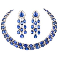 Ella Gafter Blue Sapphire Diamond Necklace and Chandelier Earrings Set
