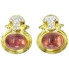 Vintage Diamond, Pink Tourmaline and Peridot 18 Karat Gold Earrings