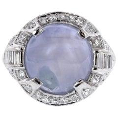 Art Deco Platinum Star Sapphire and Diamond Ring