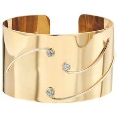 18 Karat Yellow Gold and Platinum Cuff Bangle