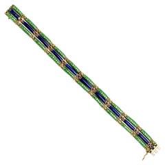 18 Karat Green and Blue Enamel 3-Row Bracelet
