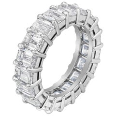 5.82 Carat Emerald Cut Diamond Eternity Wedding Band in Platinum