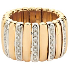 Scheffel 18 Karat Gold and Diamond Flexible Ribbed Ring