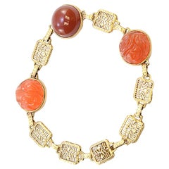 Solid 14 Karat Yellow Gold Cabochon and Carved Genuine Carnelian Bracelet 11.0g