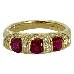 Spark Creations 18 Karat Yellow Gold Diamond and Ruby Contemporary Ring