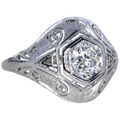 18 Karat White Gold Filigree Antique Style Diamond Ring