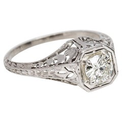 Art Deco Platinum Diamond Ring with Filigree