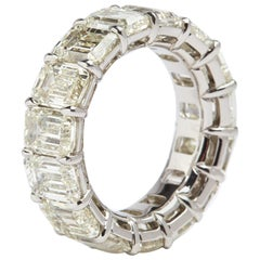 Platinum Emerald Cut Diamonds Eternity Band 15.25 Carat